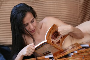 Kamala Devi reading book.