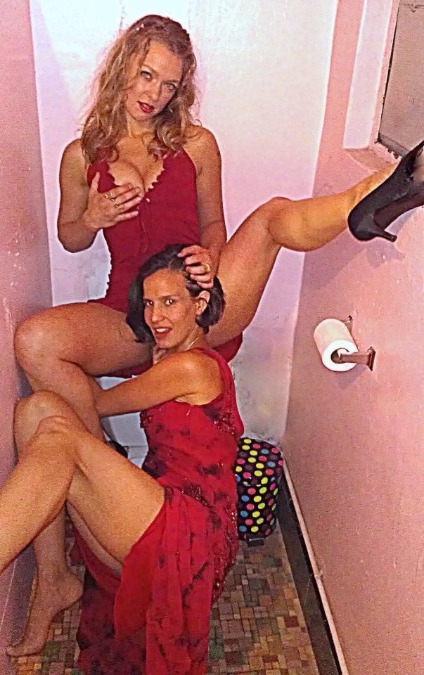 Roxanne and kamala devi in bathroom